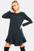 A line long sleeve stretch woven Dress with curved tiered hem
