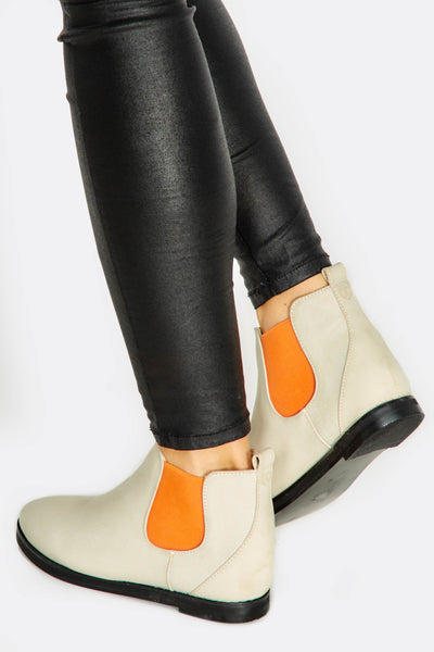 Beige and Orange Chelsea Boots