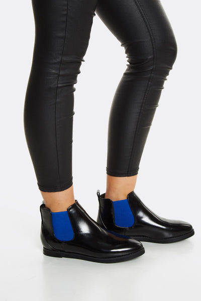 Black Chelsea Boots With Blue Detail