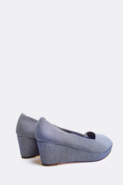 Blue Peep Toe Wedge Shoes