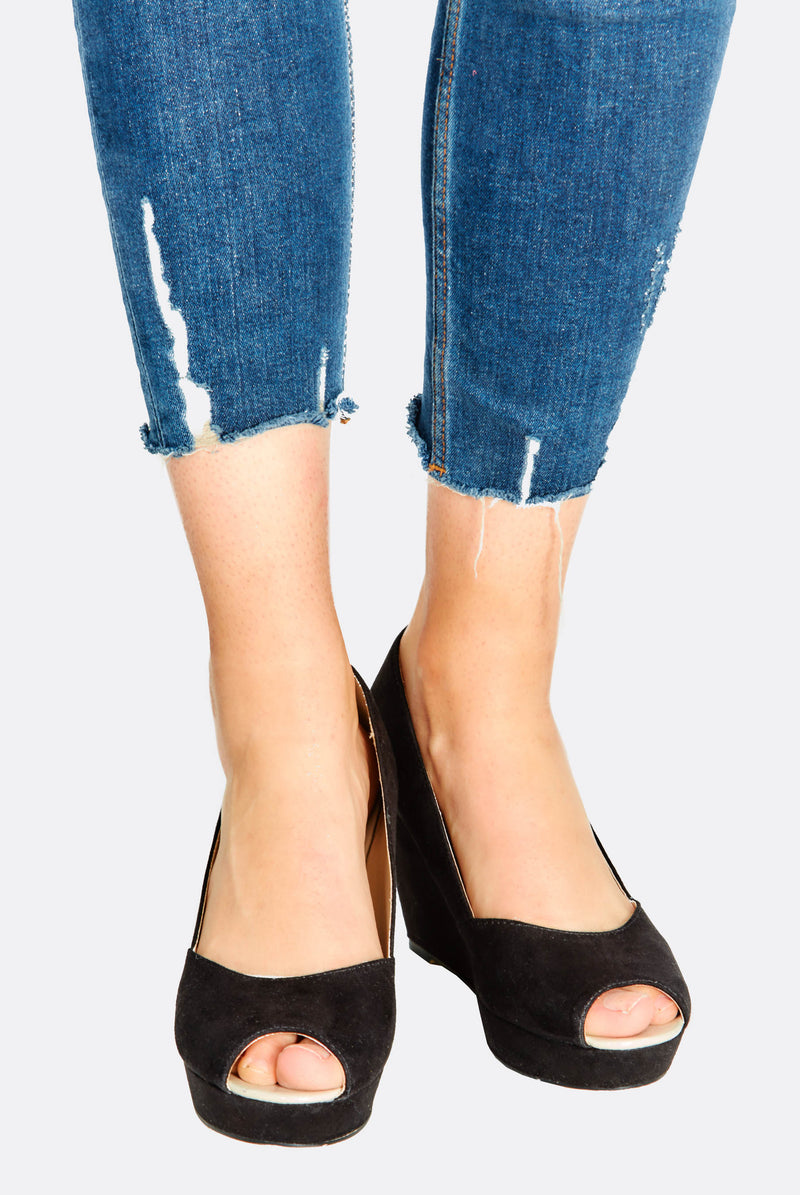 Black Faux Suede Wedge Shoes