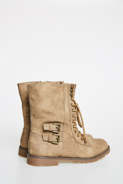 Pale Brown Short Boots With Laces