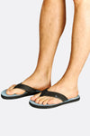 Black And Print Wide Strap Flip Flops