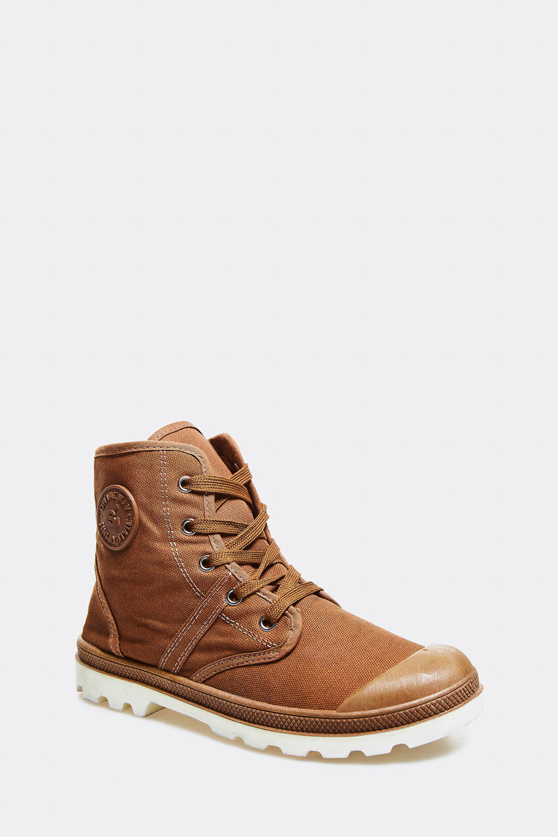 Brown Plimsoll Ankle Boots