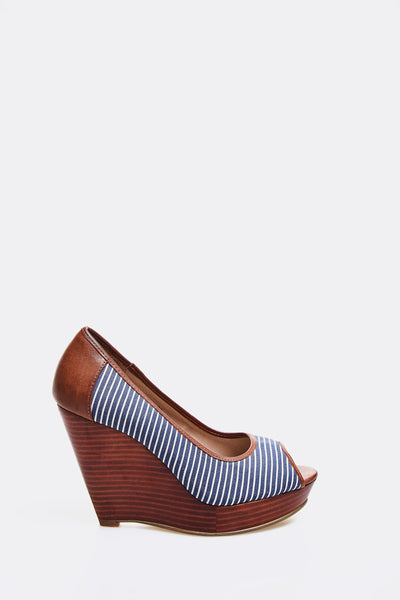 Brown Peep Toe Wedge Shoes