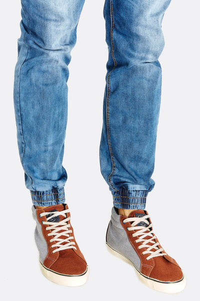 Brown Contrast High Top Trainers