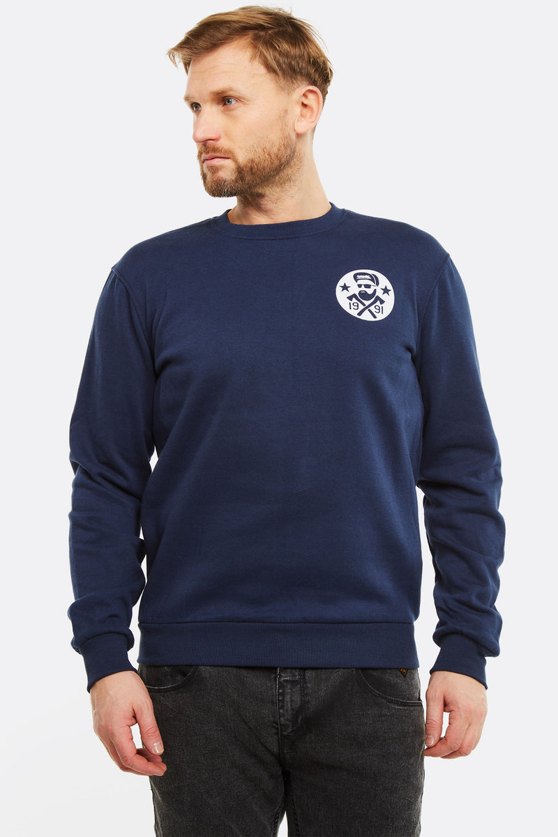 Navy Sweatshirt With Chest Print