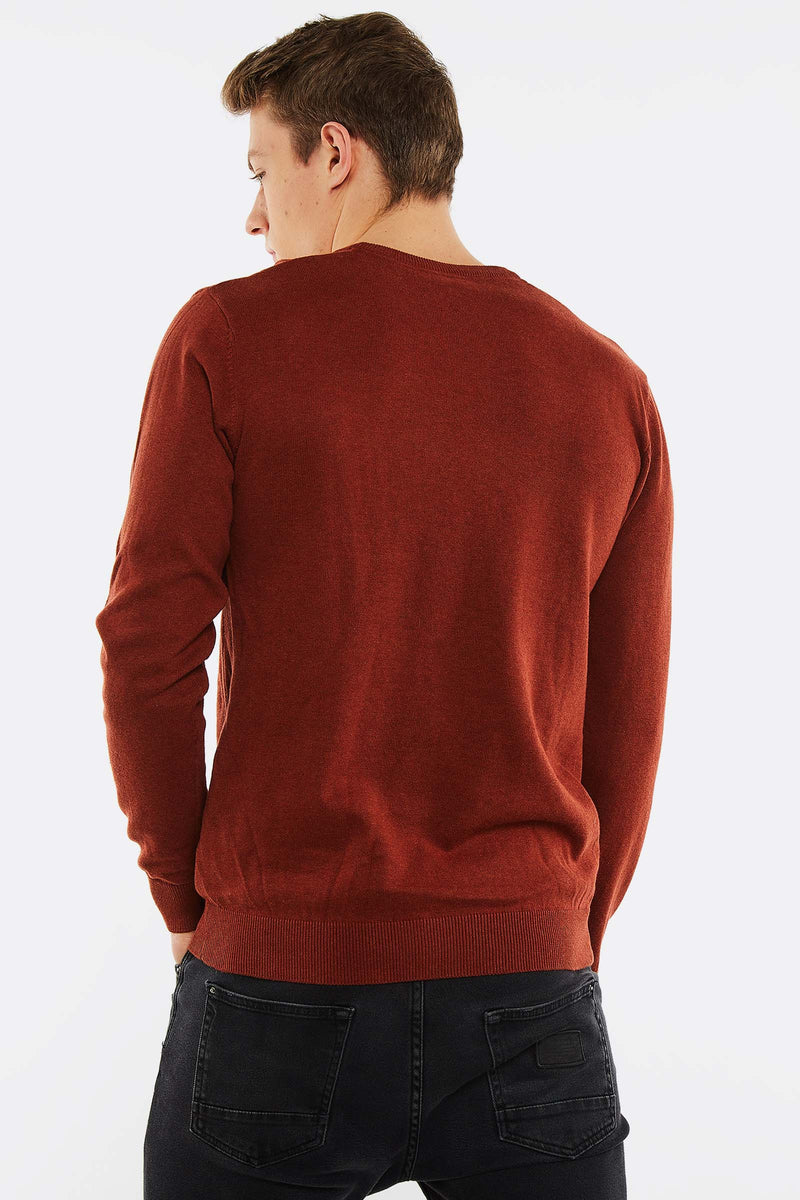 Brick Jumper With Round Neck