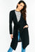 Black Tie Waist Long Jacket