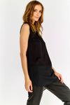 Thin Flowy Sleeveless Black Blouse