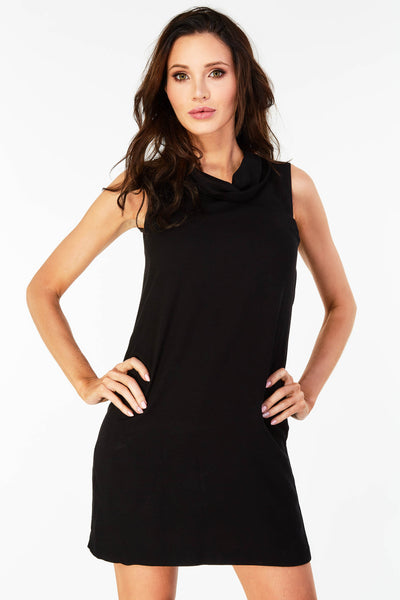 Sleeveless Shift Dress With Cowl Neckline In Black