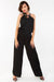 Black Embellished Neckline Jumpsuit
