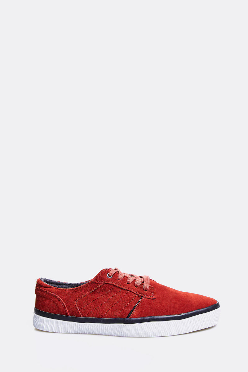 Red Leather Casual Shoes