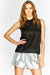 Black High Neck Sleeveless Blouse