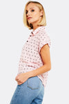 Pink Patterned Shirt With Short Sleeves