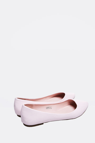 Beige Faux Leather Flats