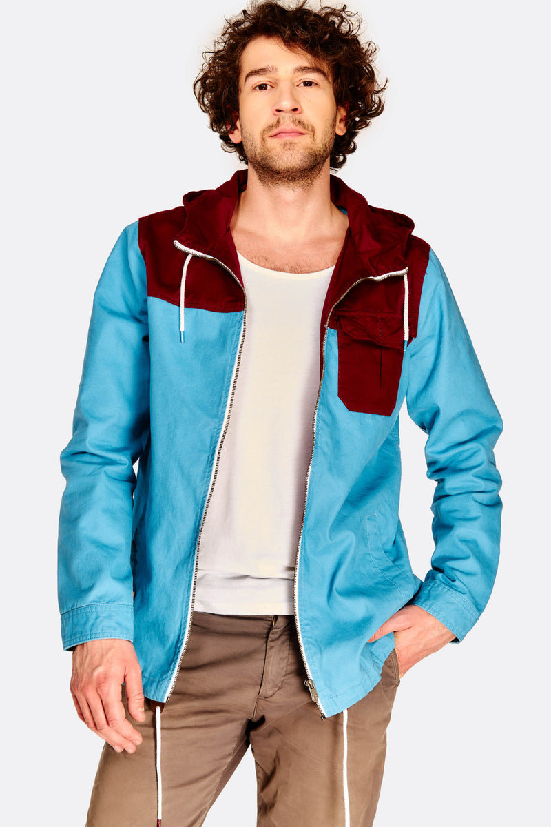 Blue Colour Block Hooded Jacket