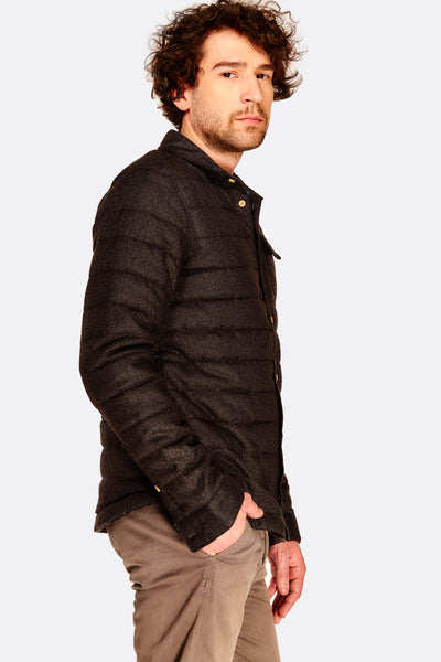 Black Quilted Collared Jacket