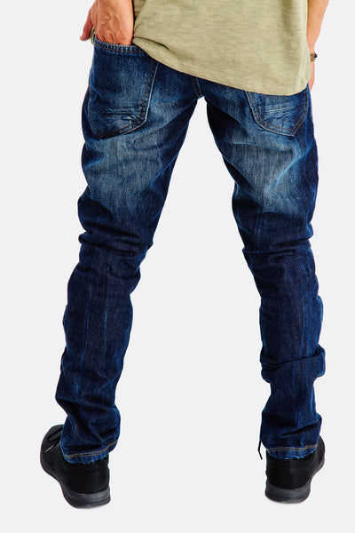 Navy Jeans With Faded Aspect