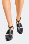 Black Faux Leather Shoes With Cut Outs