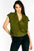 Green Wrap Front Blouse