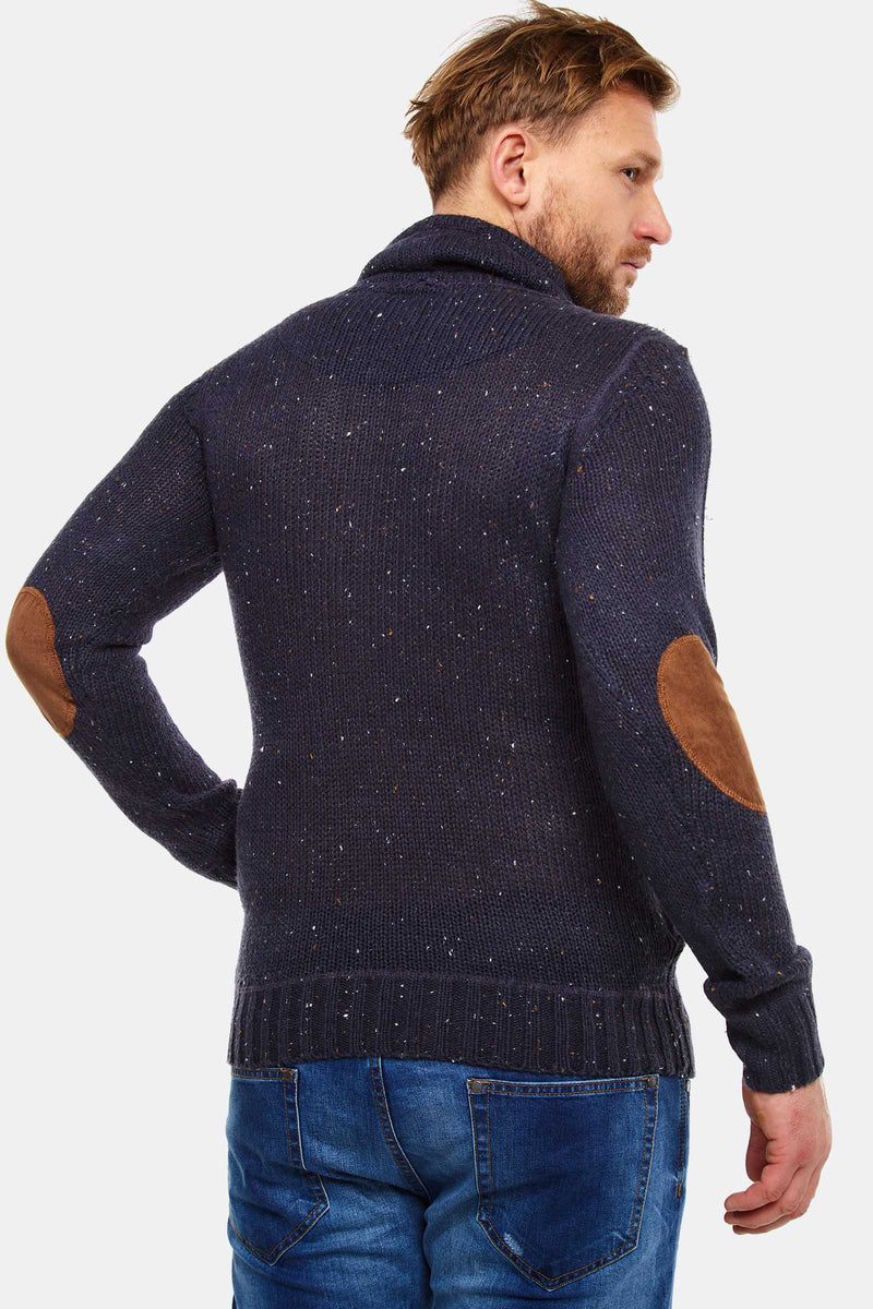 Navy Jumper With Cowl Neck