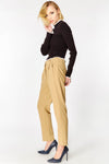 Beige High Waisted Cigarette Trousers