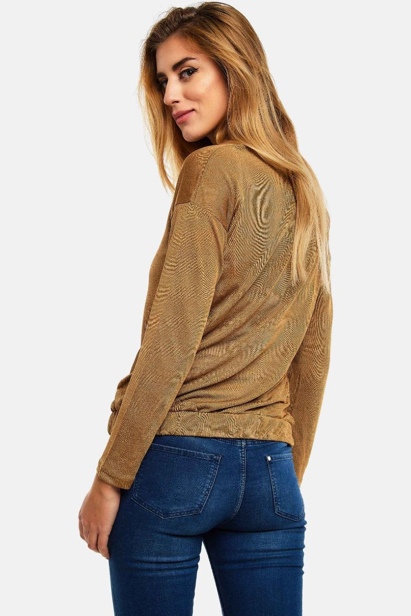 Beige Fine Knit Blouse With Cowl Neck