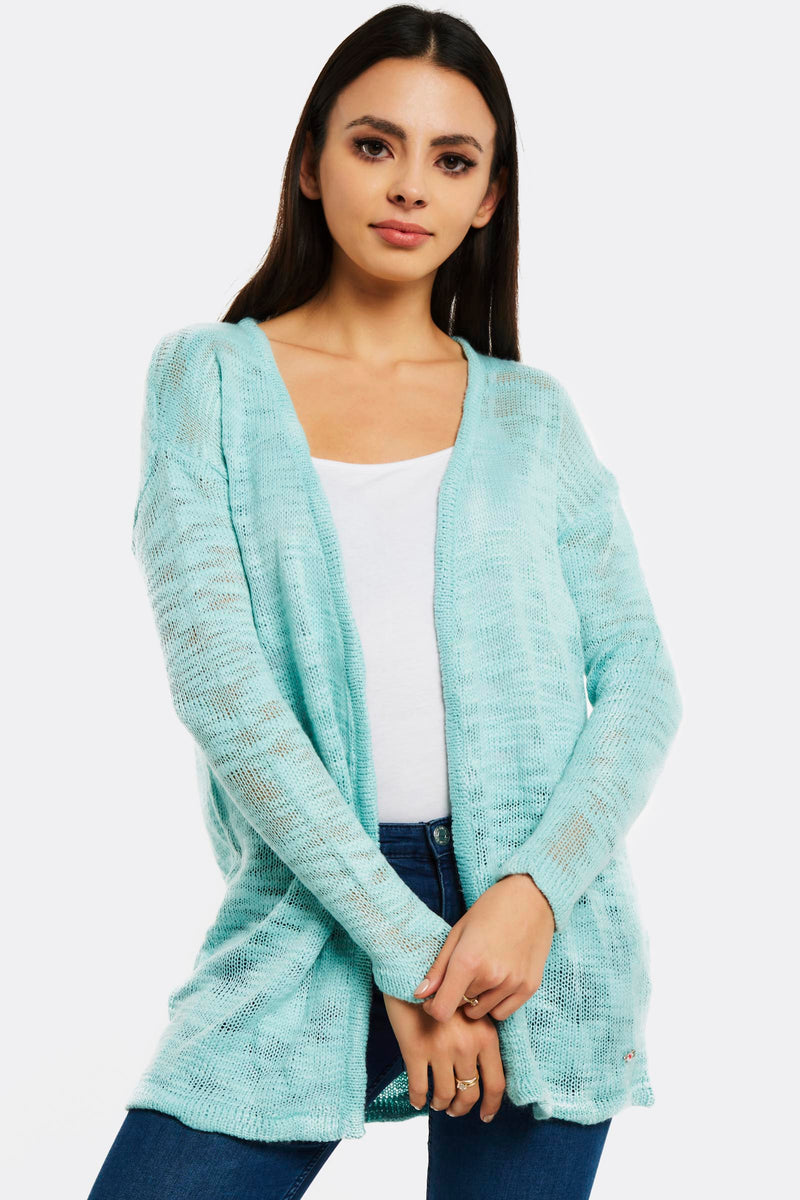 Turquoise Open Front Cardigan