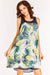 Blue Leaf Print Sleeveless Dress