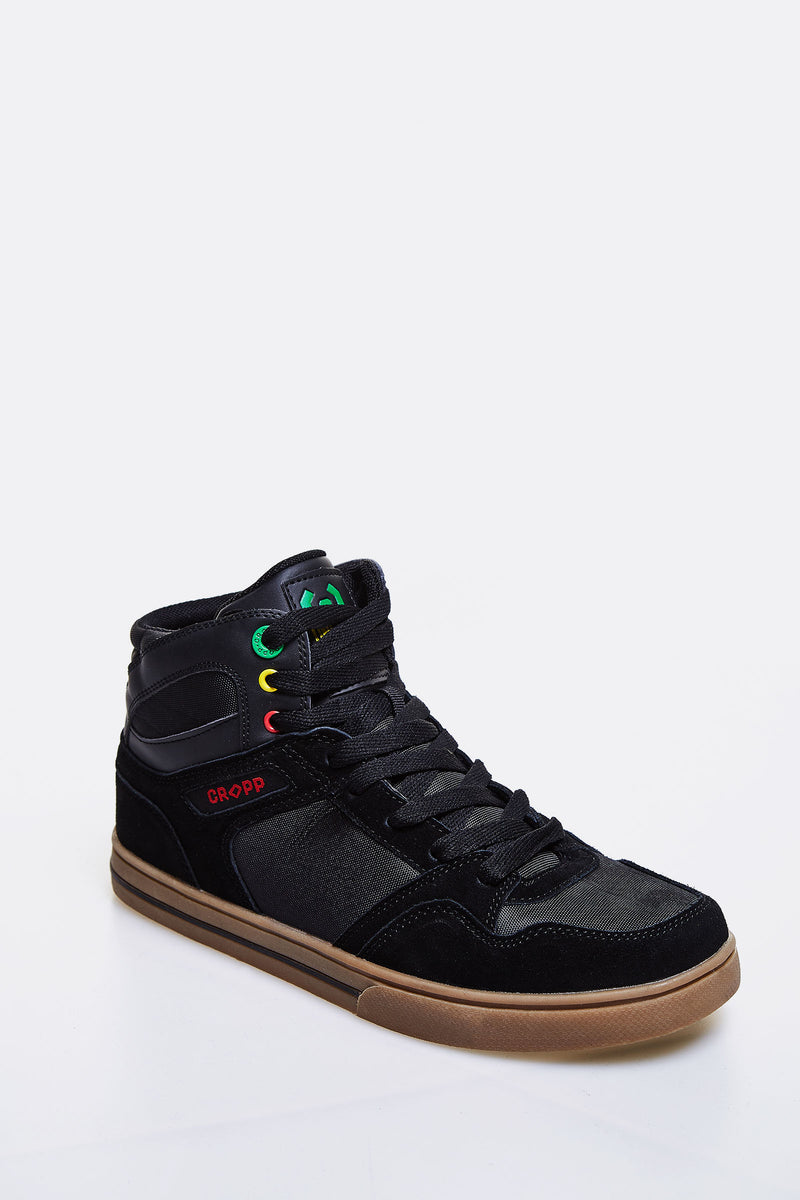 Black Sneakers With Leather Details