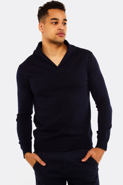 Navy Jumper With Shawl Collar