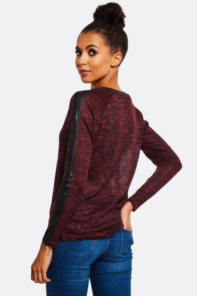 Maroon Jumper With Faux Leather Details