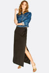 Black Split Side Maxi Skirt