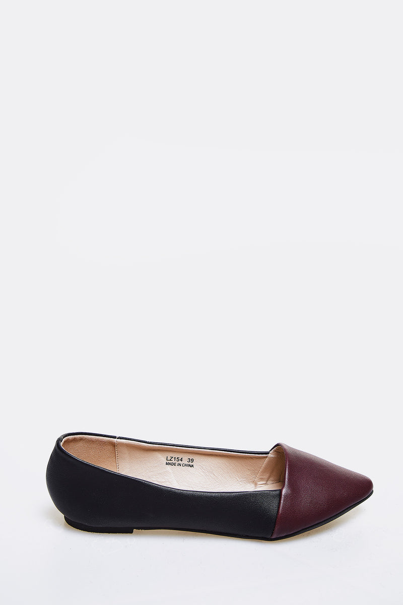 Burgundy Faux Leather Flats