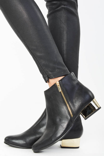 Black Zip Detail Ankle Boots