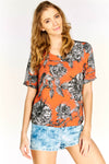 Orange Floral Print Short Sleeve Top