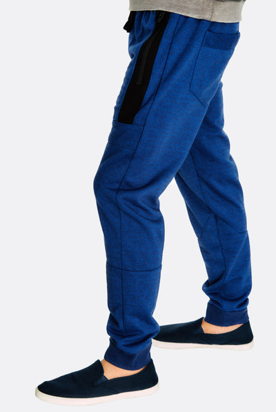 Navy Trousers With Side Zipped Pockets