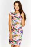 Cap Sleeved Boat Neck Floral Print Mini Dress