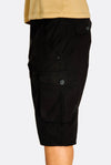 Black Cotton Cargo Bermudas