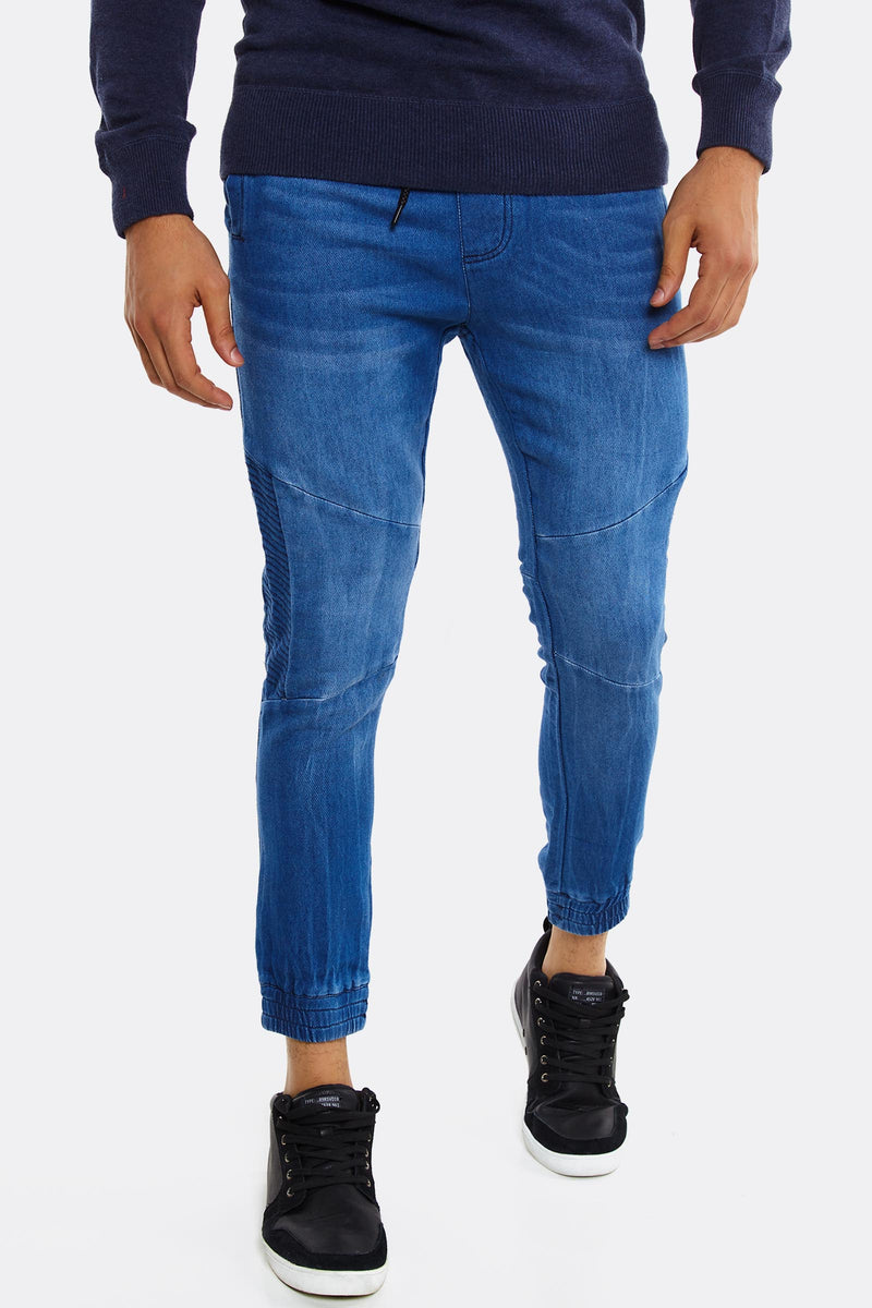 Blue Jeans With Elastic Hems