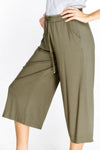Kaki wide leg knee length highrise elasticated waist pants