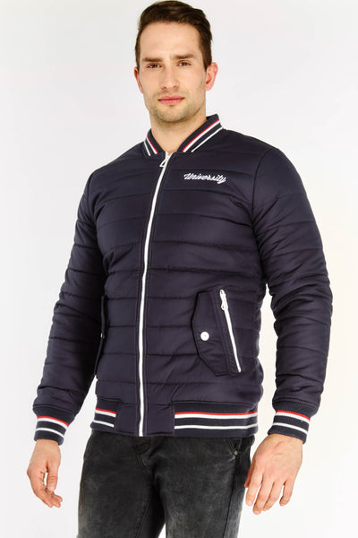 Navy Embroidered Quilted Jacket