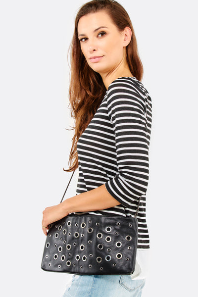 Black Faux Leather Bag With Eyelet Details