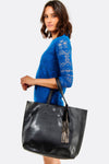 Black Faux Leather Shopping Bag