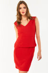 Red Peplum Waist Sleeveless Dress
