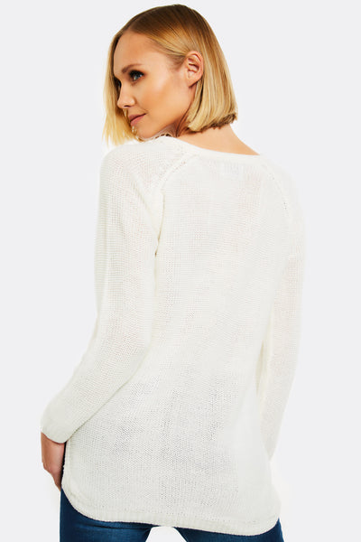 Cream Jumper With Side Slits