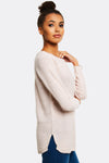 Pastel Pink Jumper With Ribbed Hems