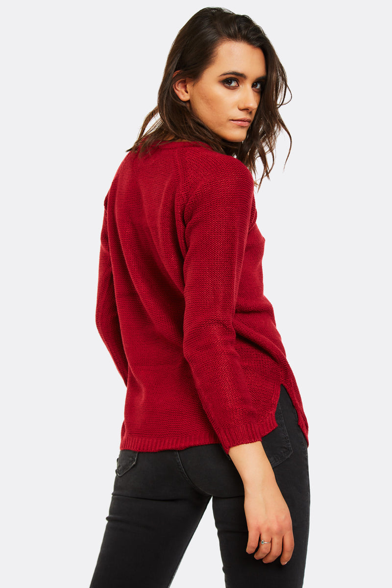 Maroon Jumper With Side Slits