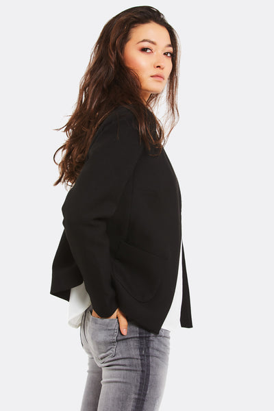 Black Blazer With Side Pockets